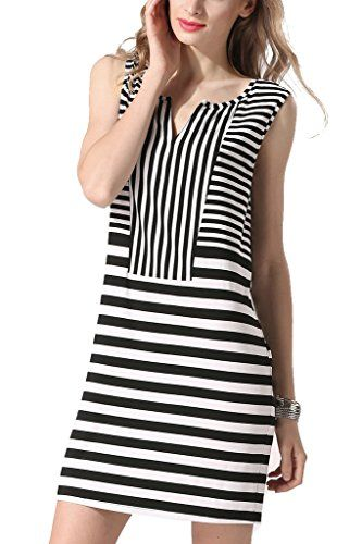 Sleeveless V Neck Striped Casual Mini Dress