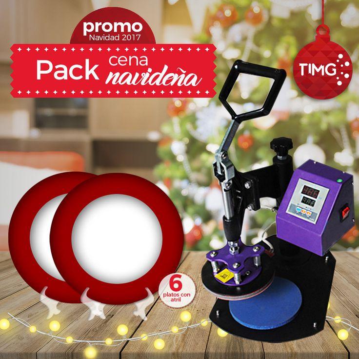 Y tú ¿Ya tienes tu pack navideño #TIMG? Aprovecha nuestra Promo Navideña #3 ¡Y Ahorra un 15% de descuento! En la compra de una estampadora de platos + 6 platos sublimables con atril.