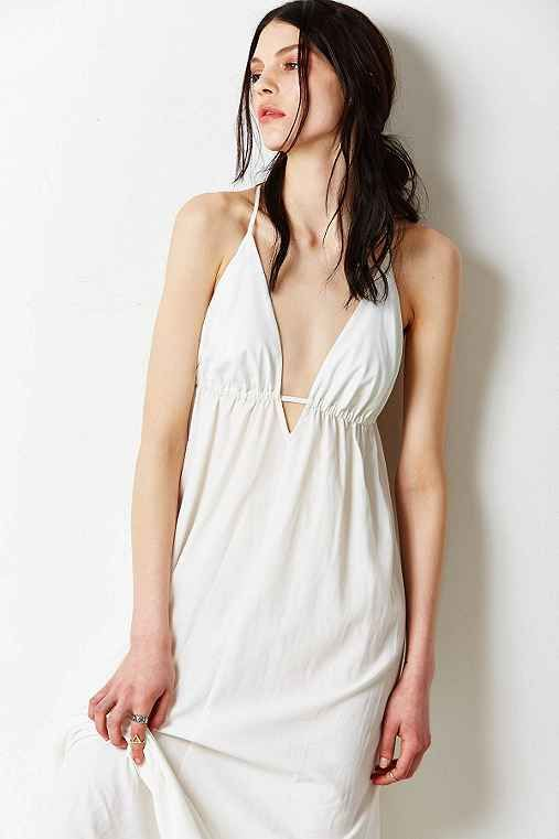 Silence + Noise Triangle-Top Maxi Slip Dress - i have something like this but in denim and the dress is knee length. haven't worn it yet. still want to lose weight.