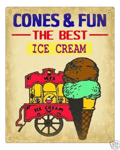 ICE CREAM VINTAGE SCOOP CART cone bowl RETRO SIGN art