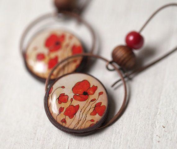 Boucles d'oreilles de pavot rouge  bijoux des par BeautySpot