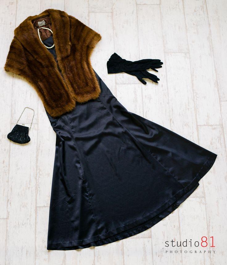 Fox Stole (Size M), Black Evening Mermaid Satin Gown (6-8), Black Long Gloves, Black Beaded Handbag, Pearl Necklace