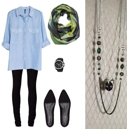 Outfit idea of the day... leggings {pretty much all I wear!}, comfy button up shirt, scarf & layered necklace. GET THE NECKLACE HERE: https://www.facebook.com/shopkiarae