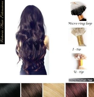 "100 Strands - 24"" (60cm) 1g/each 4A grade, Pre Bonded Remy Human Hair Extensions. ALL COLORS"