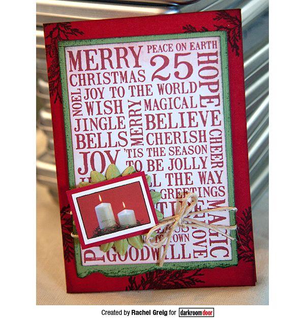 Card by Rachel Greig using Darkroom Door Christmas Word Block Stamp