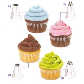 This 12 piece Wilton Cupcake Decorating set will help you to create all kinds of fun cupcake designs.Includes 4 metal decorating tips 1M, 2A, 4B, 2D plus 8 disposable decorating bags and instruction booklet.Metal tips are reusable and dishwasher safe.