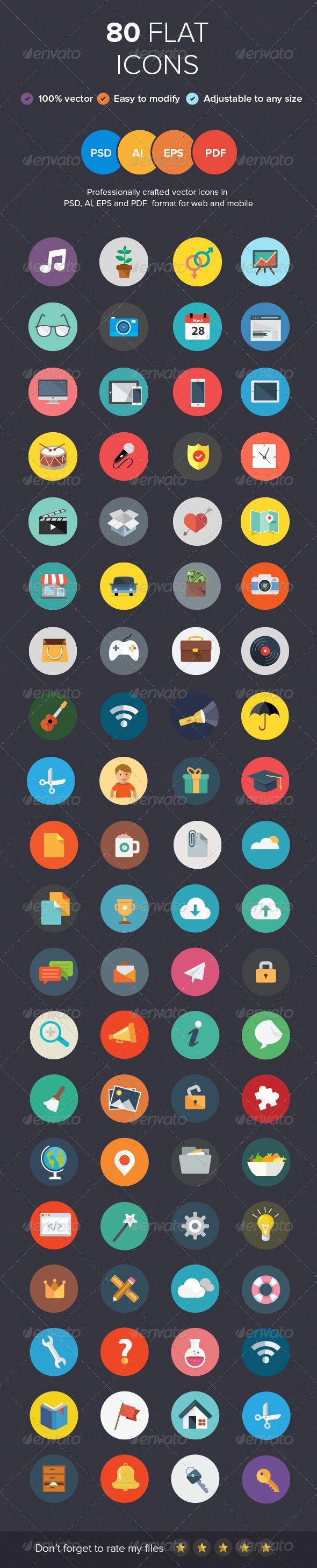80 Flat Icons  #GraphicRiver         This set contains 80 fully scalable vector icons in a perfectly organized in .AI, .PSD, .EPS, .PDF. Perfectly fits for web, iOS, Android. Good choice for use in infographic and interfaces.   What's included:   - 1 .ai file, well organized and 100% vector   - 1 .psd files, well organized and 100% Smart object   - 1 .eps files   - 1 .pdf files   - including light and dark background version.   - Read Me file   Please feel free to contact me in you…