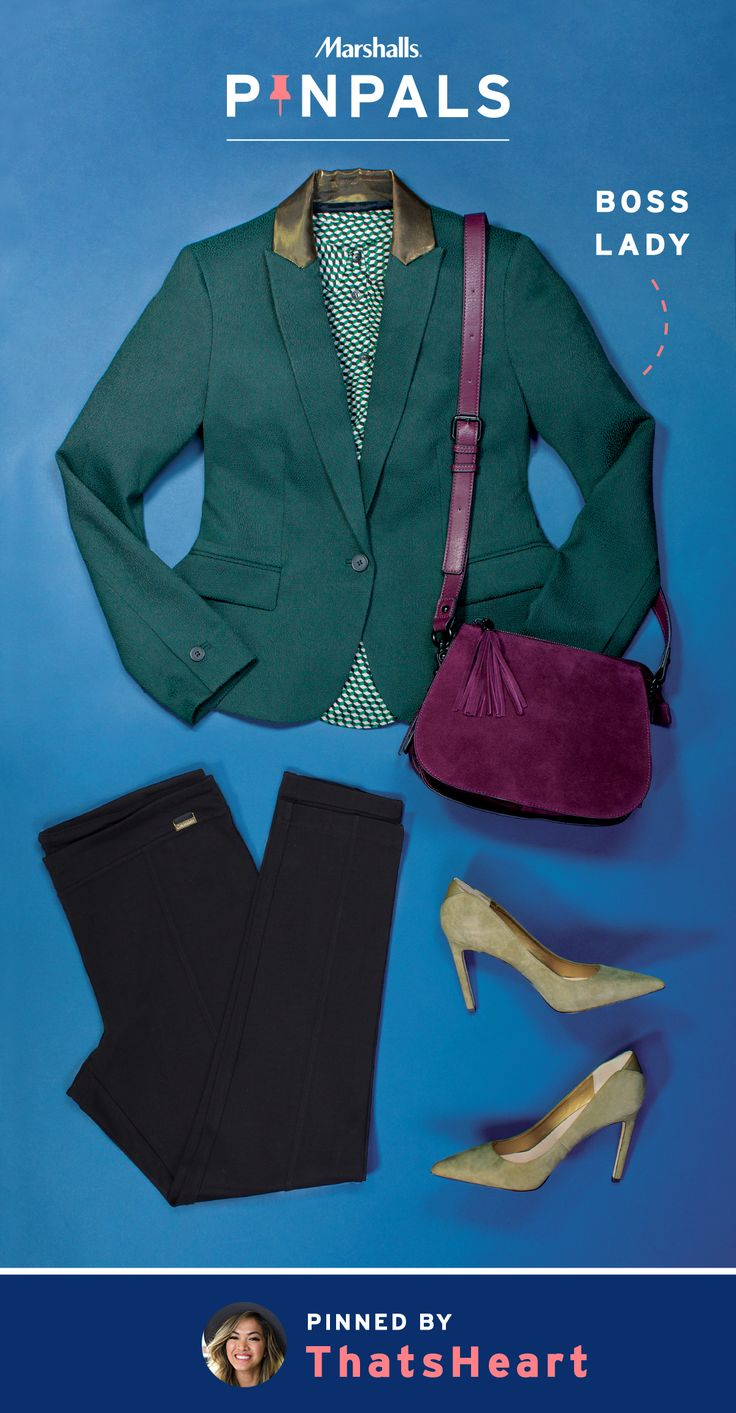 """If you want to own the boardroom, nothing says """"mover and shaker"""" quite like the right power outfit. This textured, hunter green jacket paired with sleek black slacks, velvet gray heels and a maroon purse, wowed fashion and beauty vlogger, ThatsHeart, so much that she selected it for her Pin Pals box. Inspired by this pin? Save it and you could be surprised by a Pin Pals box tailored to your style! Now that's a true #MarshallsSurprise. #Contest rules: http://marshallspinpals.dja.com/"""