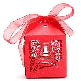 10PCS Effiel Tower Pattern Ribbon Laser Cut Hollow Out Wedding Candy Box Gift Chocolate Storage at Banggood