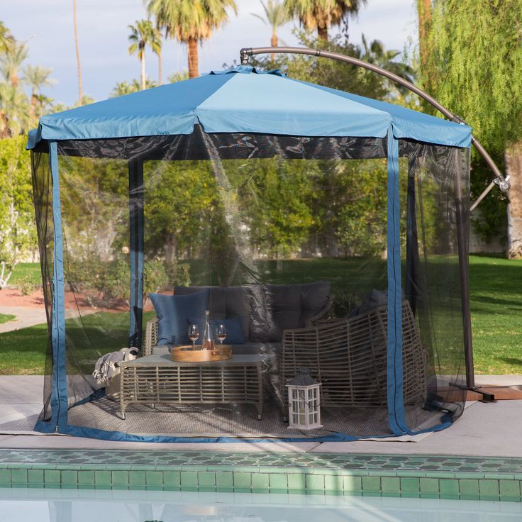 Coral Coast 11 ft. Steel Offset Patio Umbrella with Detachable Netting | from hayneedle.com