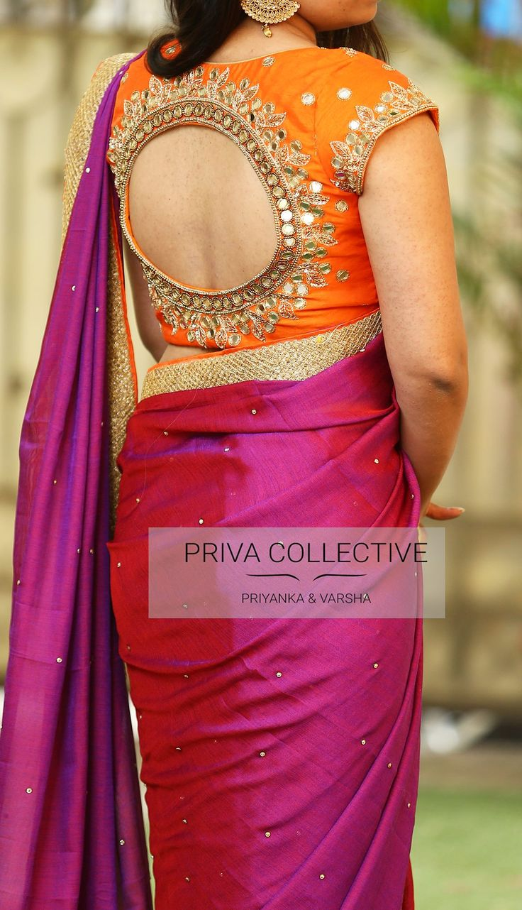PV 3560 : Purple and OrangePrice       :6000Rs.Look stunning in this lovely combination this wedding season and grab the attention instantly. Dual toned Purple soft jute silk stone studded sari is finished with gold borderUnstitched blouse piece - Orange mirror work blouse piece as in the picture For Order  23 November 2017