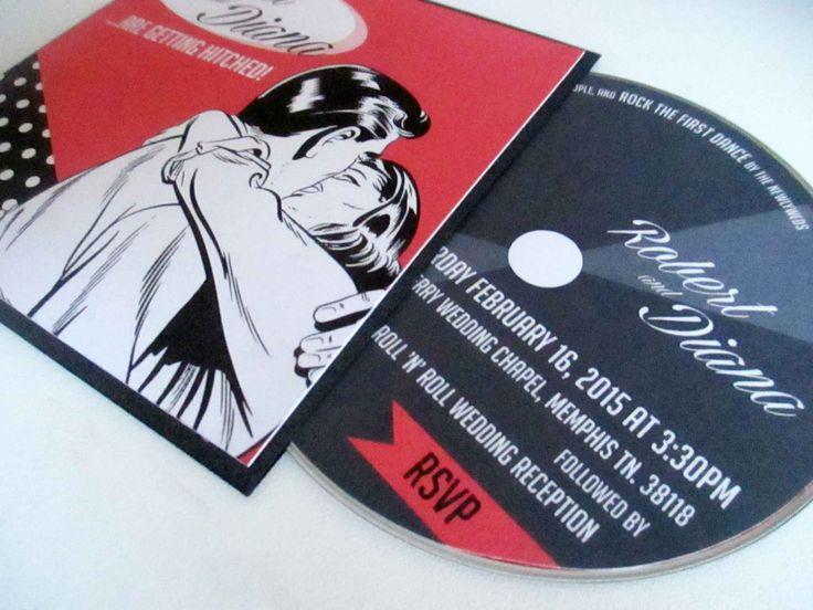 30x 1950's Red & Black Vinyl Record Sleeve Wedding Invitation, 5x5 inch Pocket Invite by VanillaRetro on Etsy https://www.etsy.com/listing/174692157/30x-1950s-red-black-vinyl-record-sleeve
