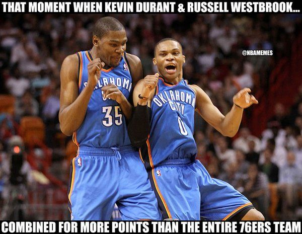 Kevin Durant and Russell Westbrook went hard tonight!r - http://nbafunnymeme.com/nba-funny-memes/kevin-durant-and-russell-westbrook-went-hard-tonight