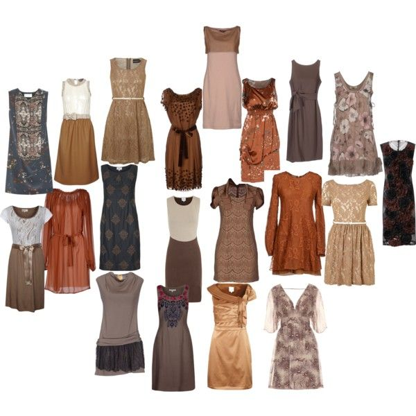 Fall wedding guest roundup brown by shebeetle on for Brown dresses for wedding guest