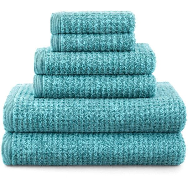 JCPenney Home™ Quick-Dri™ Solid Bath Towels ($16) ❤ liked on Polyvore featuring home, bed & bath, bath, bath towels, bathroom, decor, blue, blue striped bath towels, textured bath towels and striped bath towels