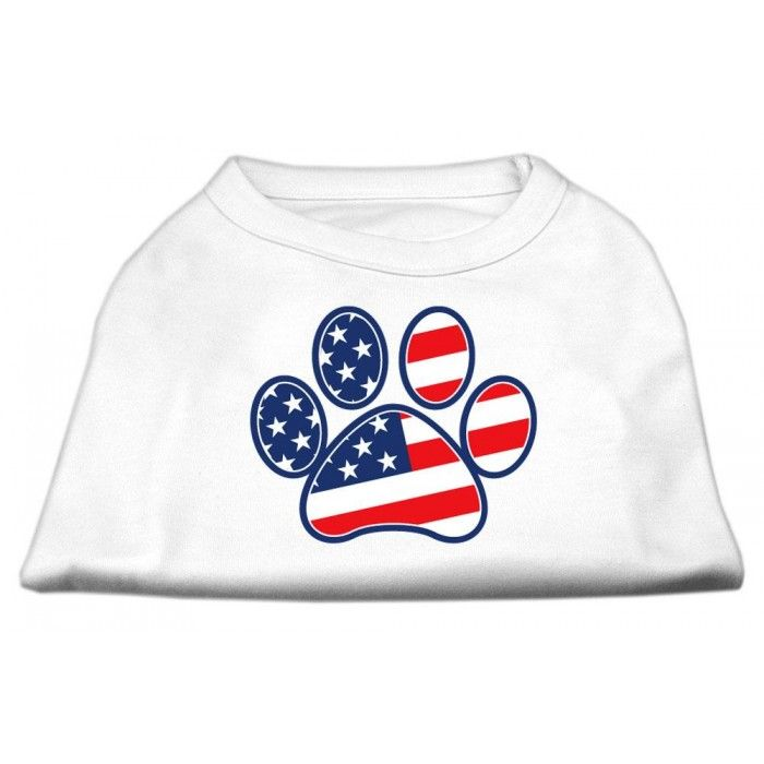 Patriotic Paw Screen Print Shirts White XXXL(20)  A poly/cotton #sleeveless #shirt for every day wear, double stitched in all the right places for comfort and durability!