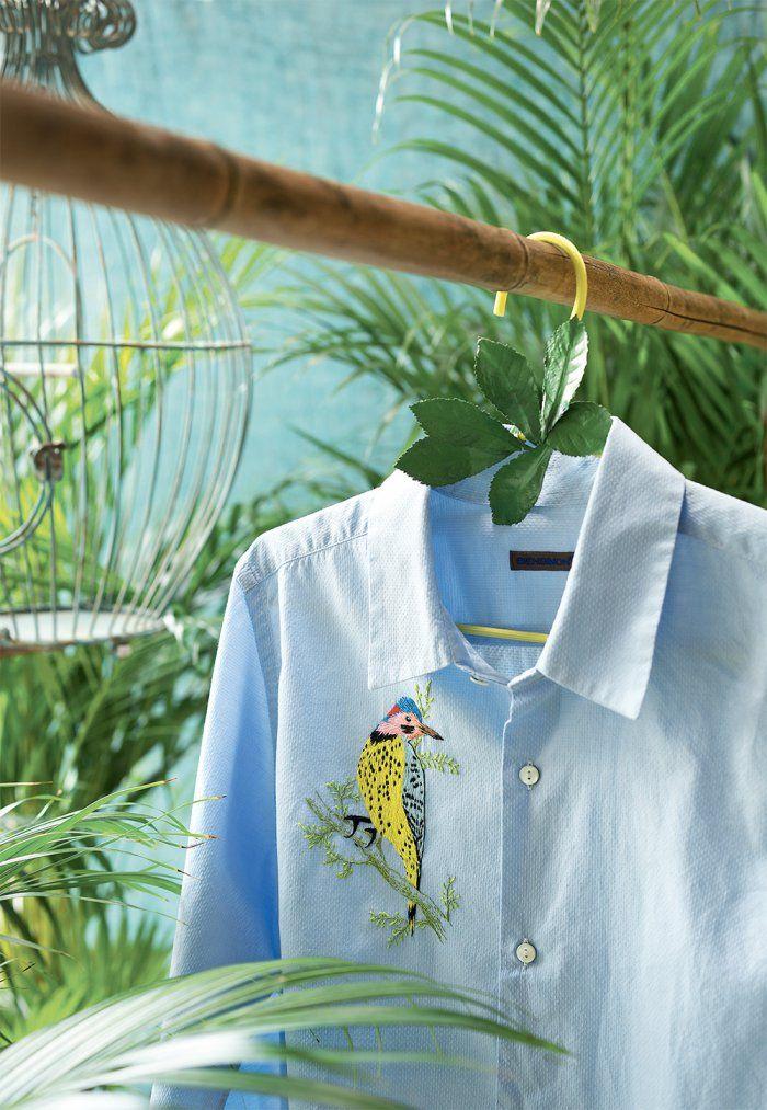 DIY broderie : broder une chemise d'un oiseau, pour la customiser