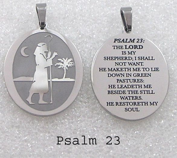Lord is my Shepherd Pendant Necklace Stainless Steel Bible Psalm 23 Inspiration