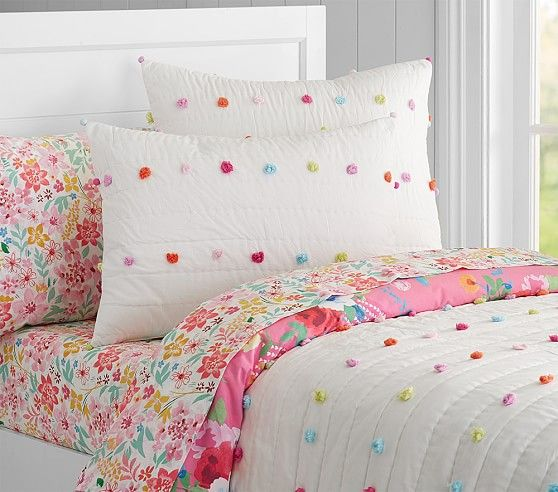 for a big girl room someday. Bright Pom Pom Quilted Bedding | Pottery Barn Kids