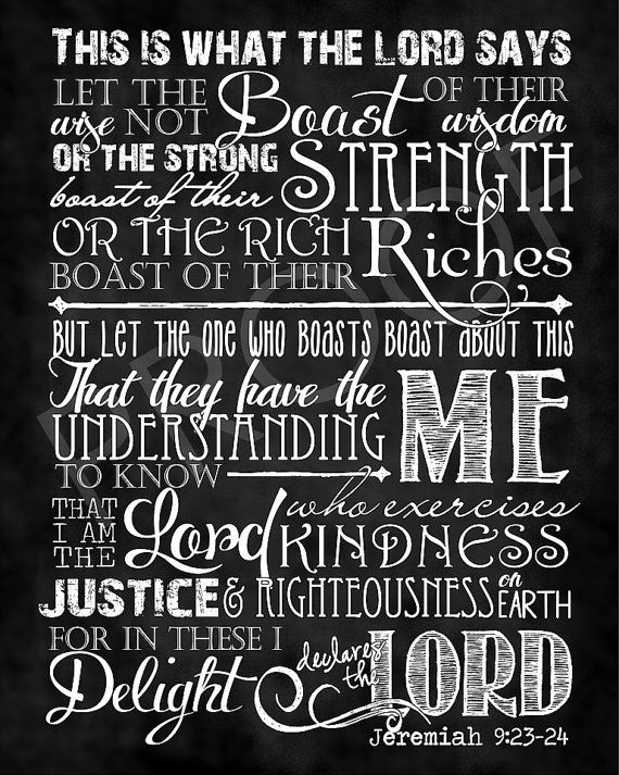 Scripture Art Jeremiah 9:23-24 Chalkboard by ToSuchAsTheseDesigns