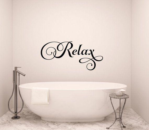 RELAX SOAK UNWIND Vinyl Lettering Decals Words Home Walls Bath Spa Bedroom Art