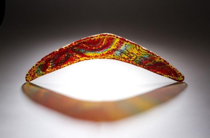 Desert Rambling Art Glass Boomerang