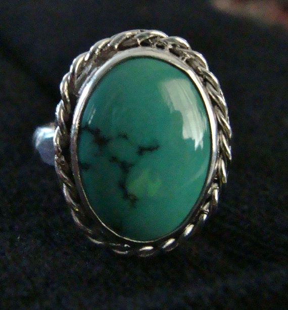 Sterling Silver Ring Turquoise Unique Handmade Ring by AMWGiftShop, $120.00