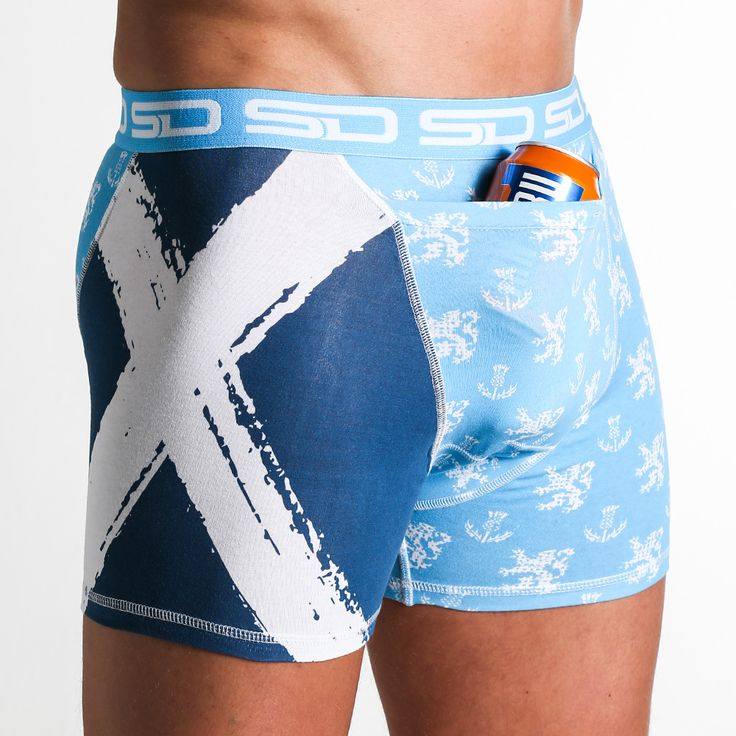 Scotland Smuggling Duds Boxer Briefs are a Scottish inspired design that is part of The North Sea Collection that has our new design registered bigger stash pocket to keep more of your valuables safe.  The Scotland design features the Lion Rampant and Scottish Thistle pattern with a St. Andrews cross on the right leg panel.