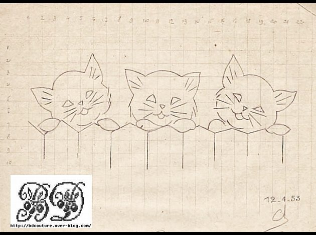 Cute kitties for redwork stitching