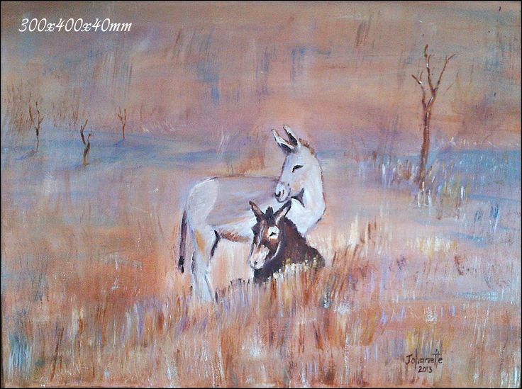 54	Donkies 	Oil Painting 	Stretched Canvas 300x400x40mm