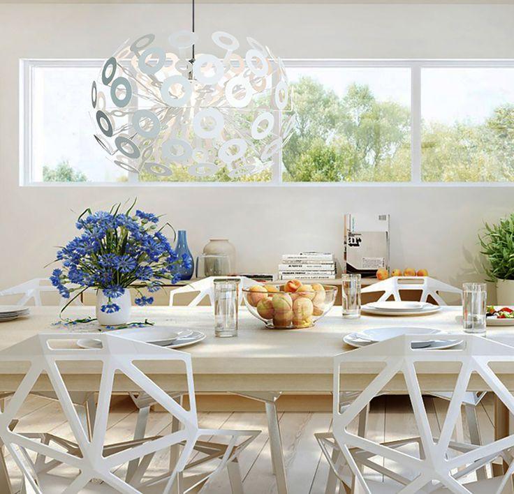 Richard Desiner White Metal Ring Dandelion Pendant Lamp Suspension Light For Bedroom Living Room