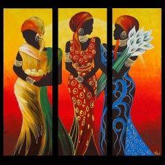 Schilderij afrikaanse vrouwen in traditionele kleding 5500