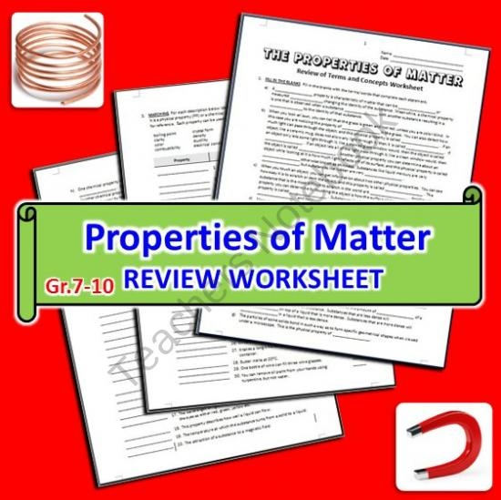 the properties of matter review worksheet from tangstar science on 6. Black Bedroom Furniture Sets. Home Design Ideas