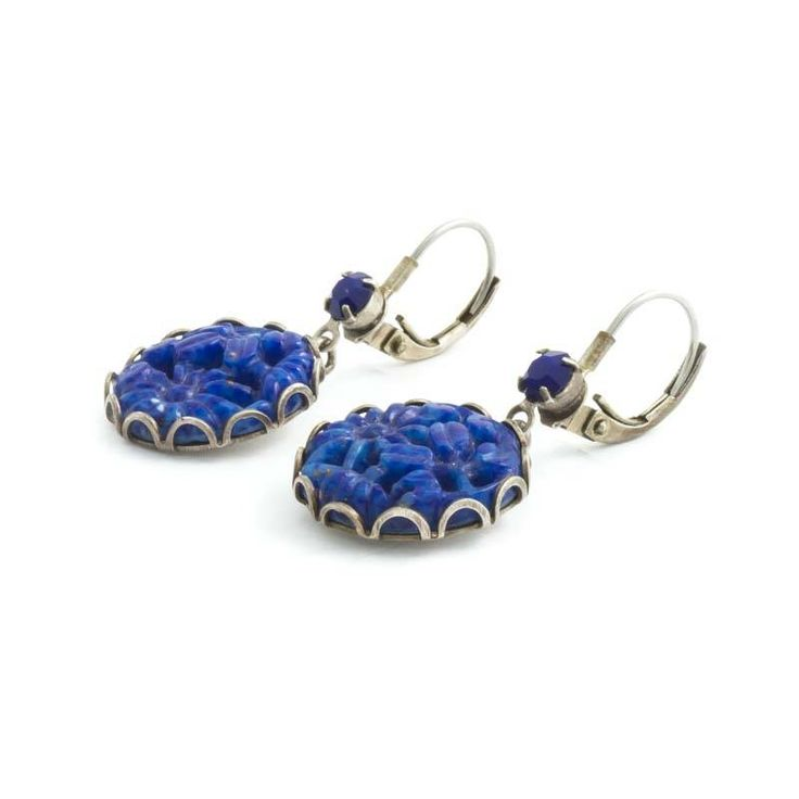 De Luxe Blauwe oorbellen met ronde uitgesneden hanger