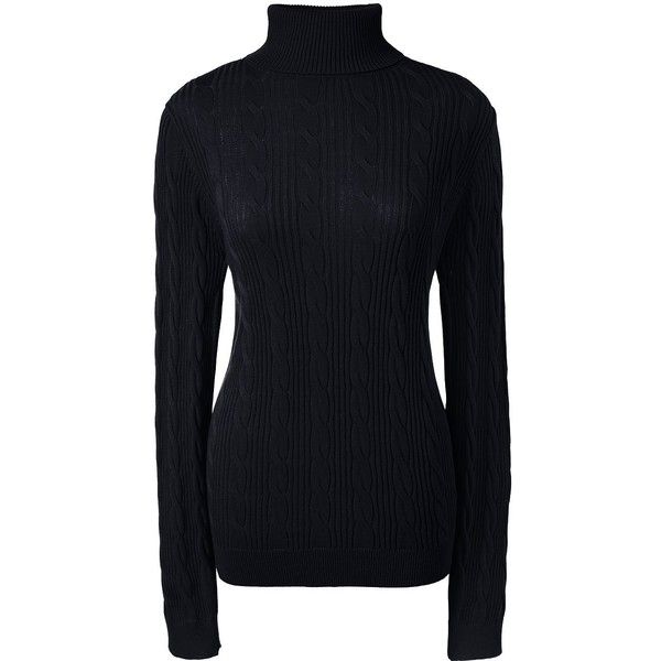 Lands' End Women's Petite Cable Turtleneck Sweater ($59) ❤ liked on Polyvore featuring tops, sweaters, black, layered sweater, turtle neck sweater, cable knit sweater, petite turtleneck sweaters and cotton cable sweater