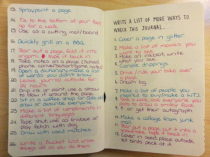 Write a list of more ways to wreck this journal.