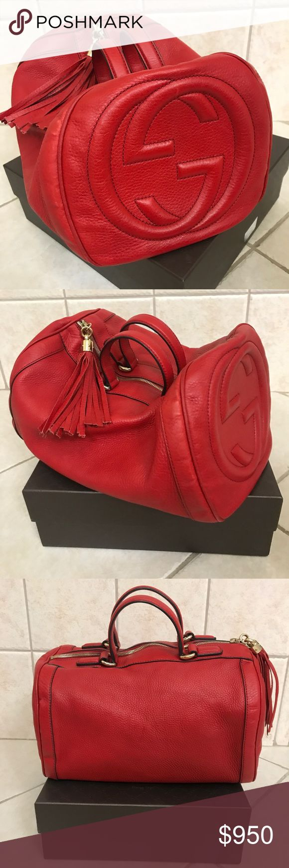 GUCCI soft leather top Handle Red Handbag Pre-owned GUCCI soft leather handbag A softly structured shape Color : Red 100% Authentic  Comes with original dust bag , no box ! Round shape  Leather material No odor or damage smoke free home Short handles  Metal feet Zip closure  Inside pockets GG logo in one side of the bag Gucci Bags Satchels