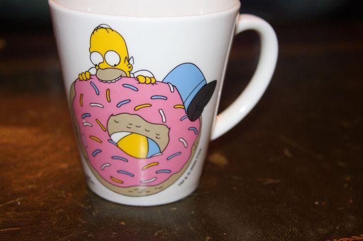 Homer Simpson Donut Doughnut With Sprinkles Coffee Mug Cup Downspace Ltd London  | eBay