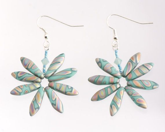 Turquoise Peacock Daisy Earrings Colourful Rainbow by Turquoisebee