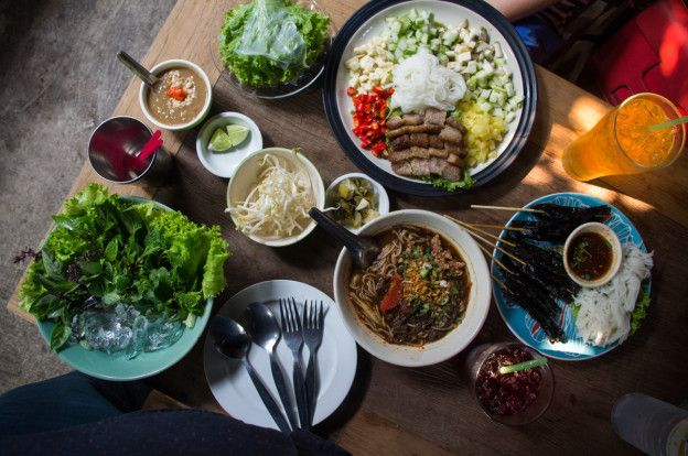 Vietnamese and Northern Thai cuisine in Pa Nual Restaurant Chiang Rai, Thailand