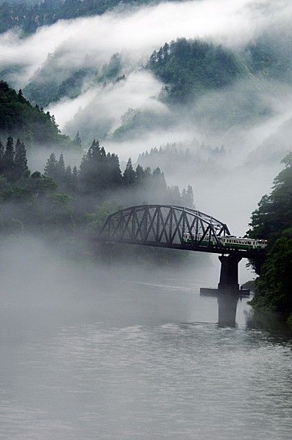 Aizu, Fukushima Japan- train bridge and mist. Awesome!