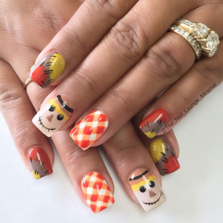 Fall scarecrow nail art dragon