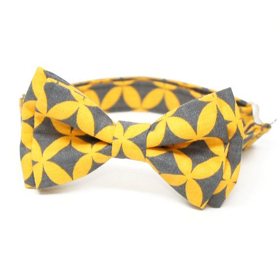 Compass Gray & Yellow bow tie  pre-tied bowtie by bowshopHandmade