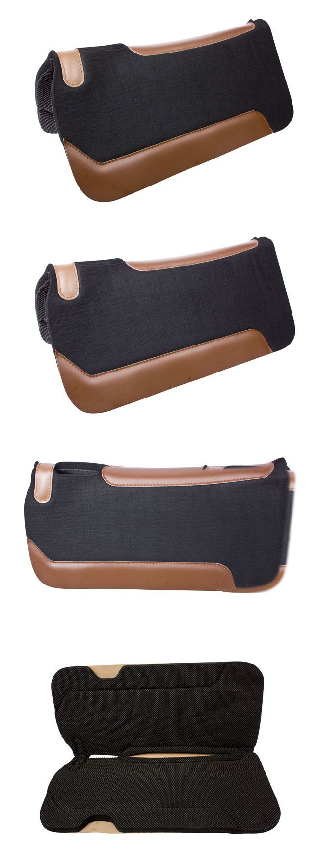 Saddle Pads 47308: Black Wool Felt Therapeutic Western Horse Saddle Gel Shock Pad BUY IT NOW ONLY: $66.49
