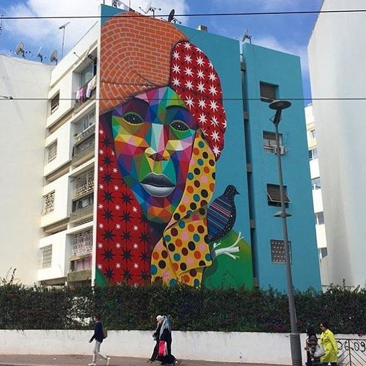 Brilliant colours as always. Amazing!  #streetartist: Okuda #streetart #title: Sahara Prince where: #Rabat #Morocco  #who is the #global #artist: Born in #Santander and based in #Madrid . The #Spaniards pieces on rail-roads and abandoned factories in his hometown were clearly recognizable. Parallel to his work in the street he also starts producing more intimate works in his studio with which from 2009 evolves into a more personal way. The multicolored #geometric structures and patterns are…