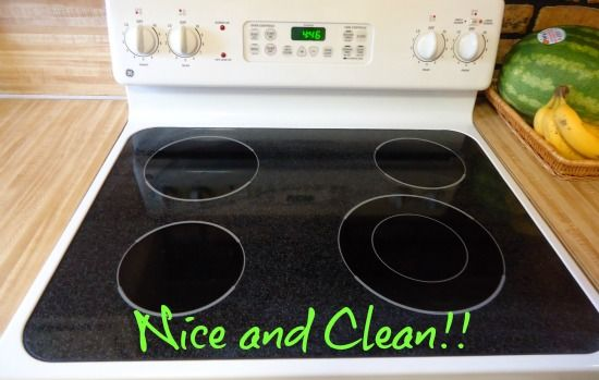 Simple and frugal method for cleaning glass stovetops using baking soda, soapy water, and a dish towel.