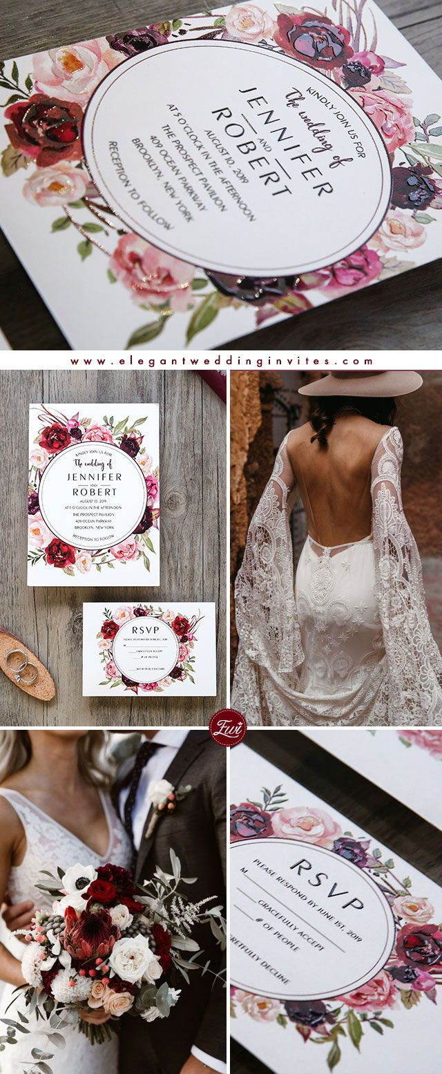 Lace dress for big size august 2019 burgundy floral boho inspired UV printing wedding invitations