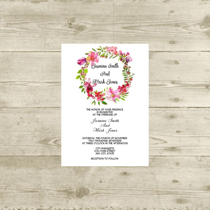 tulip wedding invitation templates%0A Pink Floral Wreath Wedding Invitation Pink Watercolor Floral Wedding  Invitation Digital Or Will Print by FlowerBoxPrints