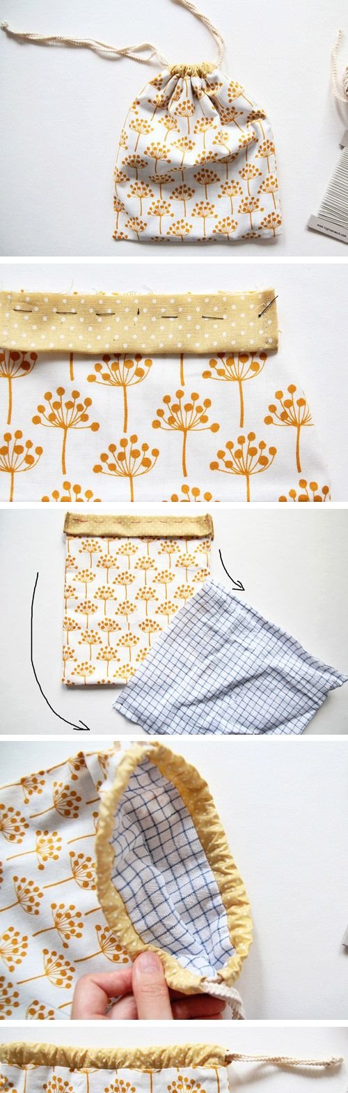 Cute DIY Drawstring Bag Tutorial. http://www.handmadiya.com/2016/10/drawstring-bag-tutorial_27.html