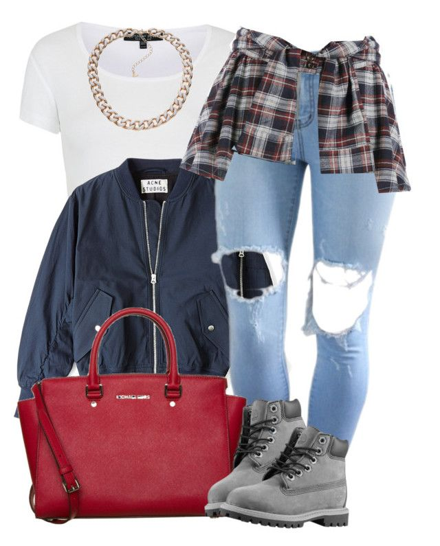 """Idk .."" by perfectlyy-imperfect ❤ liked on Polyvore featuring Topshop, Acne Studios, MICHAEL Michael Kors and Timberland"